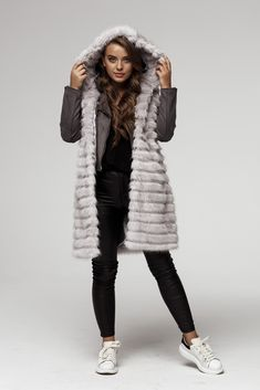 See more of our products on other pins or a website. Fake Fur, Faux Fur Vests, Fur Coat, Winter Jackets, Website, Grey, Collection, Products, Fashion