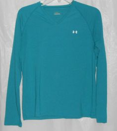 UNDER ARMOUR Athletic Top Blue Women Size L Large Long Sleeve T-Shirt