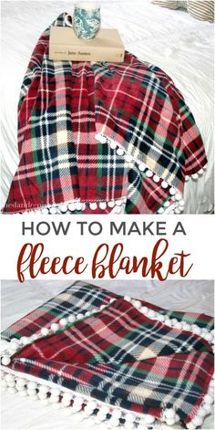 Sewing Gifts How to make a fleece blanket with pom pom trim. Sewing Hacks, Sewing Tutorials, Sewing Crafts, Sewing Patterns, Sewing Tips, Sewing Ideas, Sewing Art, Manta Polar, Decoration Christmas