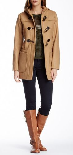London Fog Toggle Wool Blend Coat
