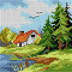 Vintage French needlepoint tapestry canvas embroidery - The Souvenir, after Fragonard Cross Stitch House, Cross Stitch Tree, Beaded Cross Stitch, Cross Stitch Kits, Cross Stitch Embroidery, Embroidery Patterns, Hand Embroidery, Funny Cross Stitch Patterns, Cross Stitch Designs