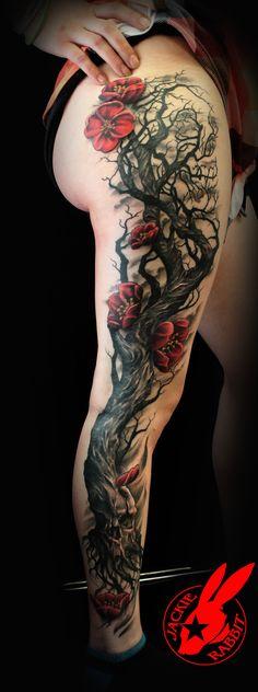 Skull Tree Cherry Blossom Tattoo by Jackie Rabbit