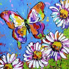 Vlinder met bloemen - www.vrolijkschilderij.nl