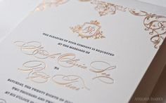 Gold Foil Sparkly Detail on a regal, royal inspired wedding invitation