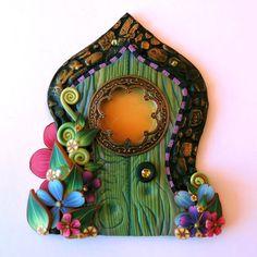 Flower Fairy Door  Pixie Portal Miniature Fairy Door by Claybykim