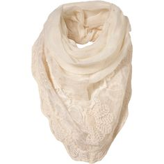 Cream Lace Trim Scarf ($32) ❤ liked on Polyvore featuring accessories, scarves, шарфы, women and woven scarves