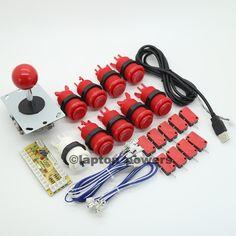 Arcade DIY Parts USB Encoder 4 8 Way Joystick 9x Happ Button for Arcade Mame   eBay