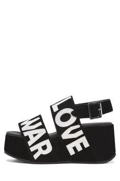 Jeffrey Campbell Shoes ATADO-WORD New Arrivals in Blk Wt Make Love Not War
