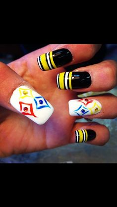 Steelers nails I just like the idea for the black and yellow nails