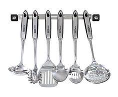 Set de 6 utensilios de cocina con barra de suspensión