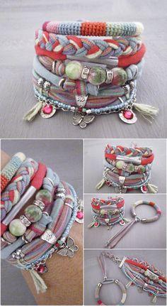 Pink Green Spring Bohemian Bracelet Gypsy by vanessahandmade