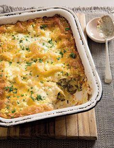 Lasagne met spek, sampioene en spinasie