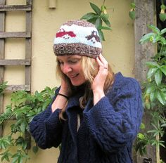 vintage car hand knit beanie hat wool and acrylic by chebunnera, £18.00