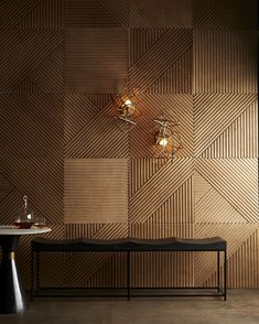Linear Edge with the Estero Sconce and Barrett Bench Wooden Wall Design, Wall Panel Design, Wooden Walls, Wooden Wall Cladding, Wooden Wall Panels, 3d Wall Panels, Office Interior Design, Interior Walls, Office Interiors
