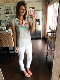 Embroidered striped top - such a cute summer outfit look with distressed white jeans and block sandals! Click on the photo for direct links to shop!