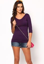 A stylish update on the sartorial look wearing this purple coloured tops from the house of ONLY. While the purple colour adds to your feminine charm, the full sleeves and round neck give your overall look some definition.