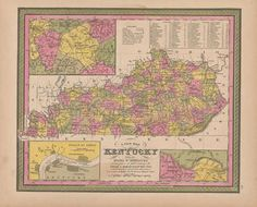 Best Kentucky Antique Maps Images On Pinterest Antique Maps - Old state maps for sale