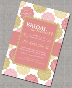 Bridal Shower Invitations Wedding Shower Invite Coral Pink and Gold