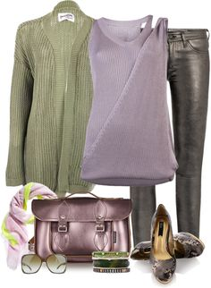 """Green, Lavender & Pewter"" by yasminasdream ❤ liked on Polyvore"