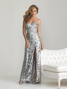 8c2c1ecf5c6cbd Silver Long Sequin Strapless Prom Dress by Night Moves 6755