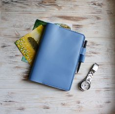 Blue leather hobonichi cousin cover Jibun techo cover cover Leather travelers n