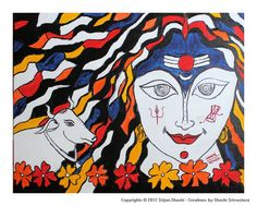 Maha Gauri,8th incarnation of Goddess Durga,is as white as a conch, moon and Jasmine. Her clothes and ornaments are white and clean. She has three eyes,rides a bull & has four hands.She holds Damroo in her left hand;depicted in the left cheek and Trishul in her right hand;depicted on right cheek of the Goddess. She is calm & peaceful.When the body of Gauri became dirty due to dust & earth while observing penance, Shiva cleaned her with Ganga water.Then her body became bright like lightening.