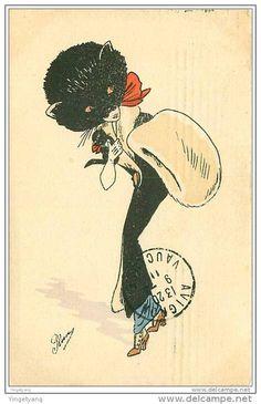 Stunning antique postcard, lady with black cat design hat!