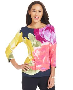 Charter Club Petite Button-Shoulder Printed Top - Tops - Women - Macy's