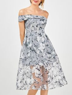 Off The Shoulder Floral 50s Dress - SMOKY GRAY 2XL 74ad07b8bf80