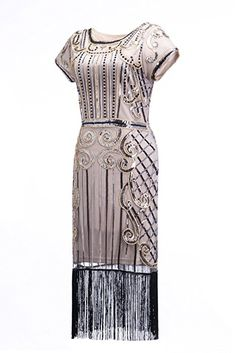 Womens 1920s Style Sequin Beaded Fringe Flapper Dress Vintage Inspired Great Gatsby Dress,Black and Gold,Small