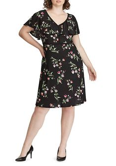 e5cd1fc7cd061 Chris McLaughlin Plus Size Floral Crochet Fit and Flare Dress ...