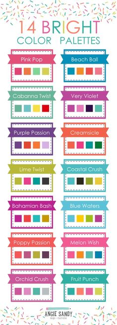 14 Summer Color Palettes Embrace color and go bold! These 14 Summer Color Combos will help get your makeup in ultimate relaxation mode. Colour Pallette, Colour Schemes, Color Combos, Color Patterns, Bright Colour Palette, Blue Palette, Color Trends, Bright Colors, Summer Color Palettes