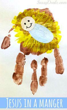 jesus crafts for kids | DIY Baby Jesus In a Manger Handprint Craft For Kids