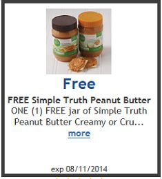 FREE Simple Truth Peanut Butter at Ralphs