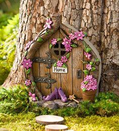 Wind & Weather Shoes Door Fairy Garden Best Picture For diy fairy garden id Fairy Tree Houses, Fairy Garden Houses, Fairies Garden, Garden Angels, Gnome Garden, Garden Crafts, Garden Art, Garden Ideas, Fairy Garden Doors
