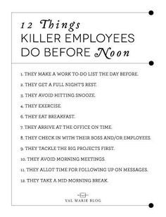 I found this great article on US News website about things great employees do before noon. The first half of our day determines how the rest will go so I thought it would be useful to share some things that will kick our days off right, and what better w Career Success, Career Advice, Career Planning, Career Quiz, Career Ideas, Career Quotes, Career Goals, Career Development, Professional Development