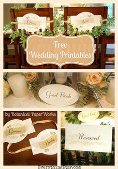 Free Wedding Printables {Handmade Wedding}– Botanical PaperWorks