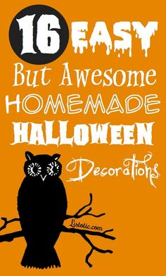 16 Awesome Homemade Halloween Decorations by @Listotic. Fun, hands-on activities like Wall Spider Web, Illuminated Ghost Garland, Hanging Bats and Glass Jar Lights!