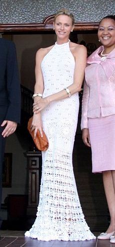 Princess Charlene wore a beautiful crochet gown at one of her wedding party events.