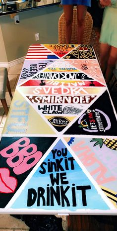 Beer Pong Painted Table, done by us. Custom Beer Pong Tables, Beer Table, Diy Table, Beer Pong Tisch, Diy Party Games, Paint And Drink, Drinking Games For Parties, Diy Painting, Sorority Canvas