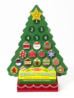 Melissa & Doug Countdown to Christmas Wooden Advent Calendar - Add some kid-friendly holiday cheer and a charming yuletide ritual to your home with this wooden mag Christmas Tree Advent Calendar, Wooden Advent Calendar, Wooden Christmas Trees, Wooden Ornaments, Christmas Countdown, Wooden Tree, Magnetic Calendar, Advent For Kids, Advent Calendars For Kids