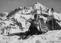 Vintage ski fashion: European elegance.