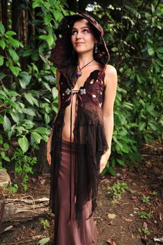Nuno Felted Melted Silk Chiffon Pixie Hooded Vest Gown OOAK. $361,00, via Etsy.