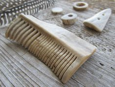 Natural History Hair Comb Carved Deer Antler Horn Bone Pick Primitive Re-enactment Native American Mountian Man Artifact Style. $48.00, via Etsy.