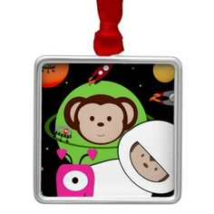 #Monkeys in #Space with #Aliens Planet #Ornament by Lee Hiller #Humor