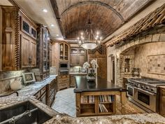 Old world kitchen with barrel ceiling  1806 Summerhaven Way, Edmond, OK 73013 | MLS #726589 | Zillow