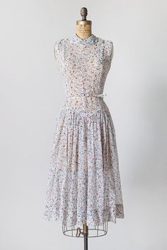 vintage 1950s light blue floral sheer dress