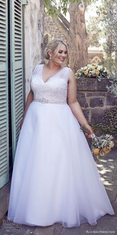 plus size perfection bridal 2016 sleeveles thick straps vneck lace bodice a line wedding dress / http://www.deerpearlflowers.com/plus-size-wedding-dresses/
