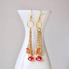 Dangling chain beaded earrings by twocatsboutique on Etsy, $16.00