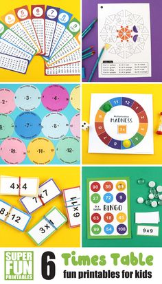 Six fun times table printables for kids. Includes bookmarks, colouring mandalas, spinners, board game, memory match cards and bingo. All printables have been designed to help kids practice and learn their multiplication tables #printables #learningideas #kidsactivities #timestables #multiplicationtables #learninggames Creative Activities For Kids, Kids Learning Activities, Creative Play, Easy Crafts For Kids, Creative Thinking, Fun Learning, Times Tables, Arts And Crafts Projects